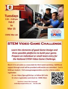 STEM Video Game Challenge Spring 2016