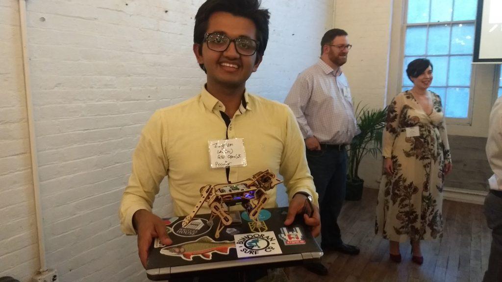 Zaigham Abbas Randhawa from Petoi with Nybble the Robotic Kitten